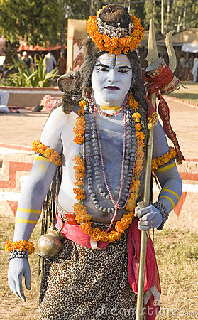 A man in Lord Shiva getup