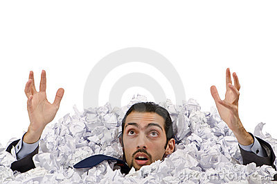 Man with lots of  paper