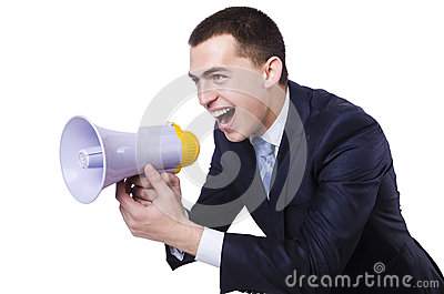 Man with loudspeaker