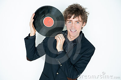 Man with LP record