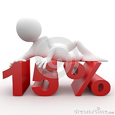 Man lying on the 15 percent