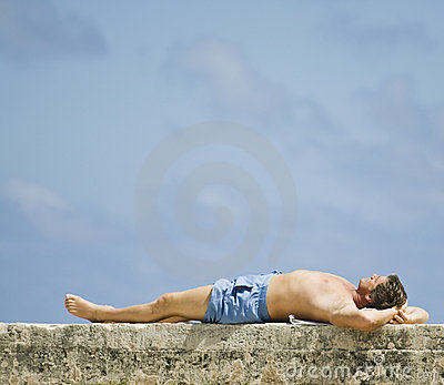 Man lying in the sun