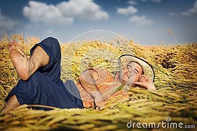 Man lying in wheat field