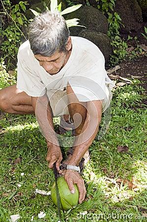 Man machete cutting coconut Nicaragua