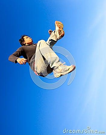 A man made a powerful high jump
