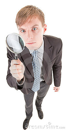Man and magnifier