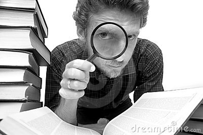 Man with magnifier