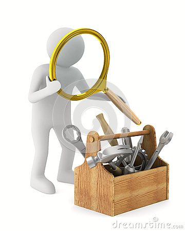 Man with magnifier and toolbox