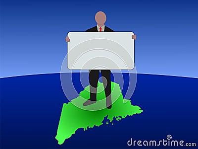 Man on Maine map