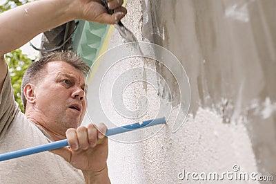 Man makes renovation outdoor