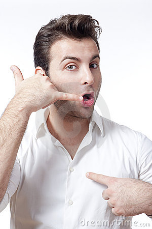 Man Making Call Me Gesture Royalty Free Stock Image ...