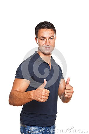 Man making ok sign with both hands