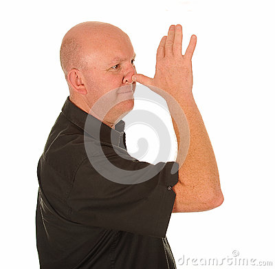 Man making rude gesture