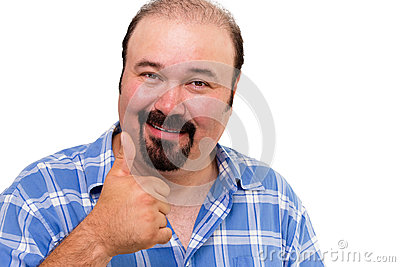 Man making a thumbs up gesture