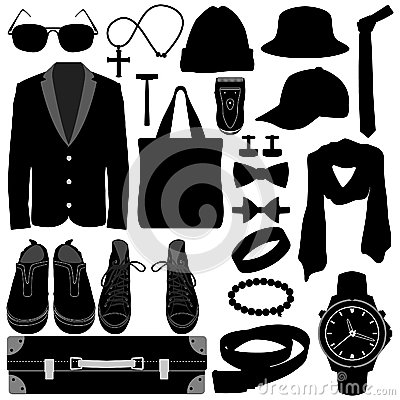 Free Man Male Clothing Wear Accessories Fashion Design Stock Images - 25897844