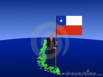 Man on map of Chile with flag