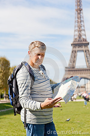 Man with a map of the city