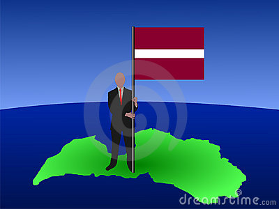 Man on map of Latvia with flag