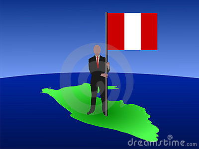 Man on map of Peru with flag