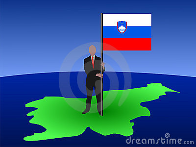Man on map of Slovenia