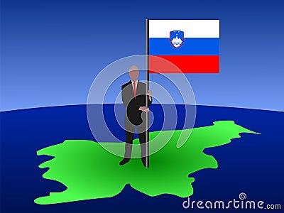 Man on map of Slovenia