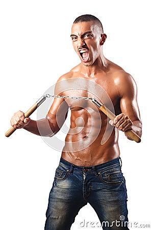 Man in martial arts concept