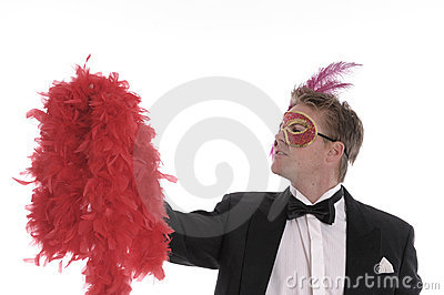 Man with mask and feather boa