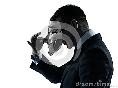 Man masked anonymous group silhouette portrait Editorial Stock Photo