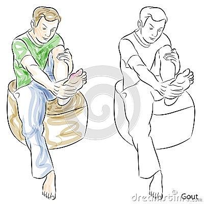 Man Massaging Gout Feet