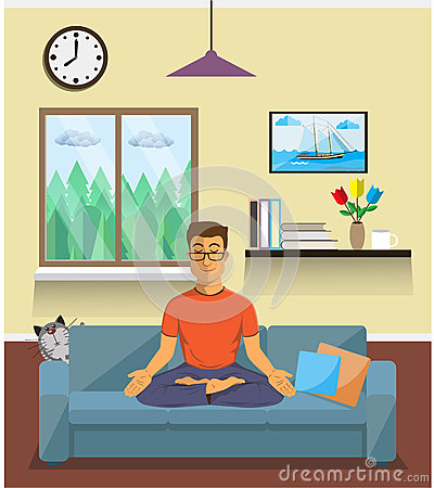Free Man Meditates In The Yoga Lotus Position. Home Interior. Stock Images - 62478324