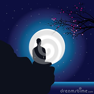Man meditating in sitting yoga position on the top of a mountains above clouds at sunset. Zen, meditation, peace, Vector illustrat Vector Illustration