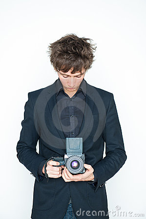 Man with medium format camera