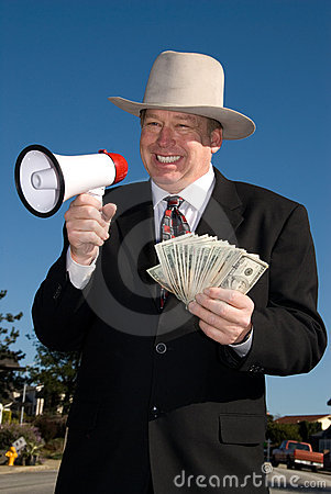 Man with megaphone and cash.