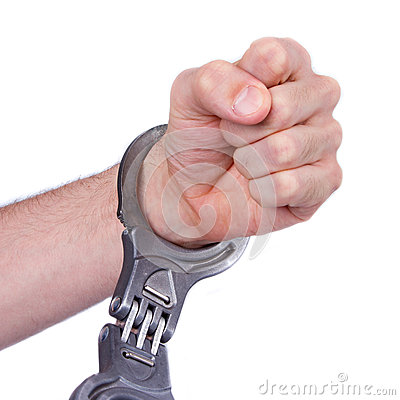 A man in metal handcuffs