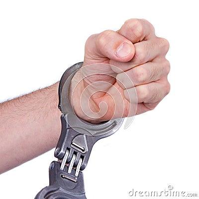 A man in metal handcuffs