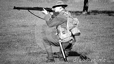Man In Military Suit Aiming Rifle Free Public Domain Cc0 Image