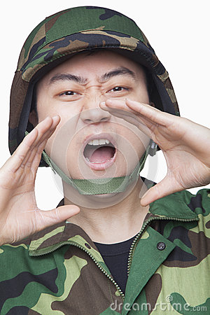 Man in military uniform shouting