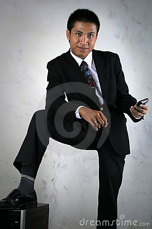 Man with mobile device