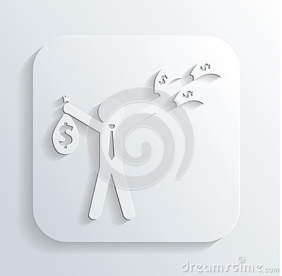 Man money bag icon vector