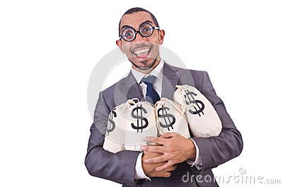 Man with money sacks