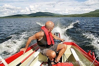 Man in a motor boat