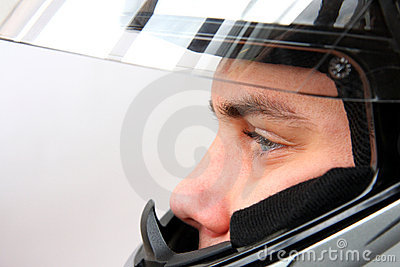 Man in motorbike helmet