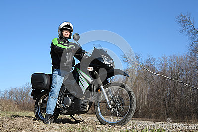 Man on Motorcycle Adventure