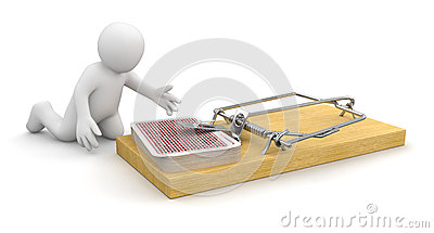 Man and Mousetrap with Playing Cards (clipping path included)