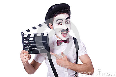 Man with movie clapper