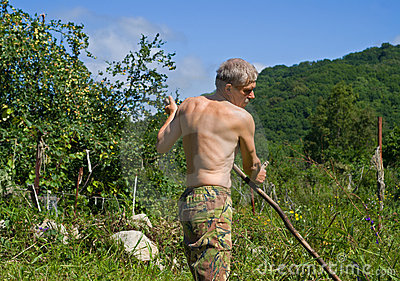 Man Mowing Grass 33