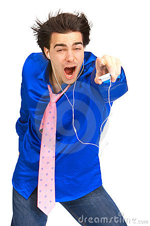 Man with mp3-player