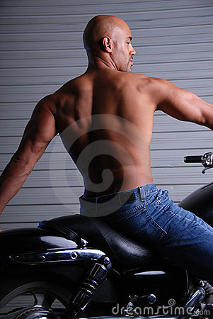 Man with muscular back.