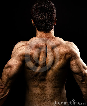 Man with muscular strong back