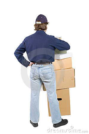 Man near a pile of boxes
